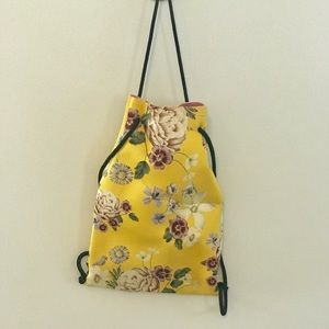 Triangle Backpack Yellow Floral New!